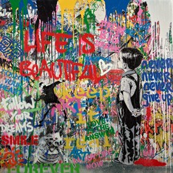 With All My Love by Mr. Brainwash - Original on Canvas sized 48x48 inches. Available from Whitewall Galleries